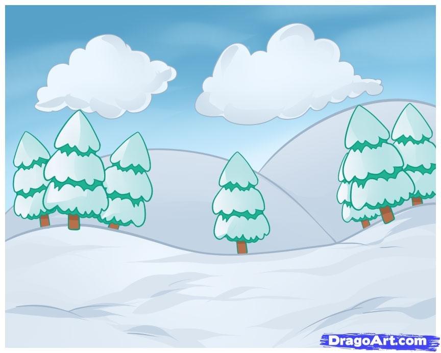 лес зимой рисунок легкий ночных фото
