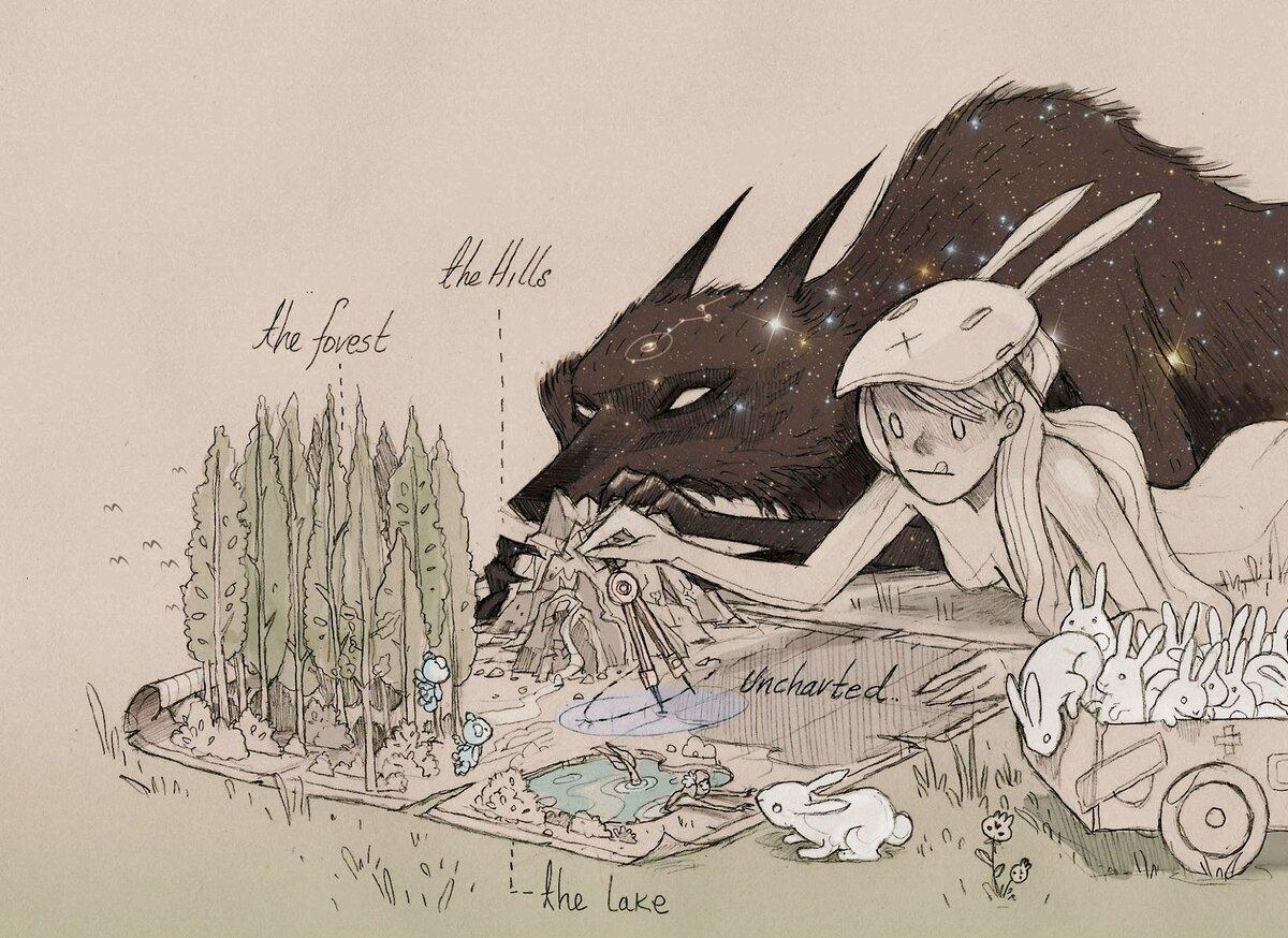 иллюстрации звездный волк фото все