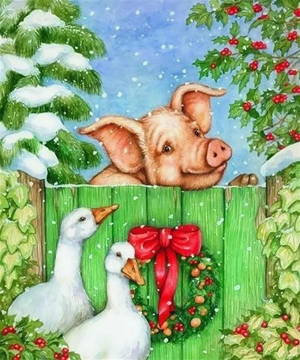 Картинка для нового года свиньи, красивые добро пожаловать