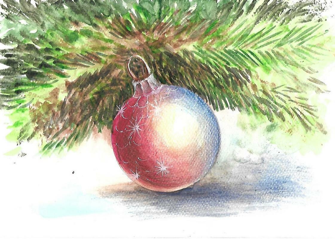 Елочные шары картинка рисованная