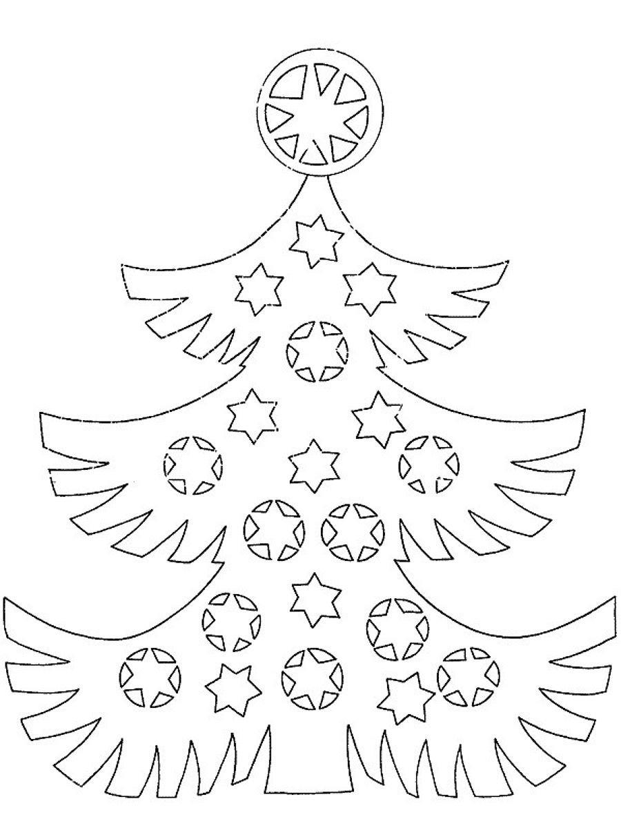 Картинки новогодней елки для вырезания из бумаги распечатать, можно