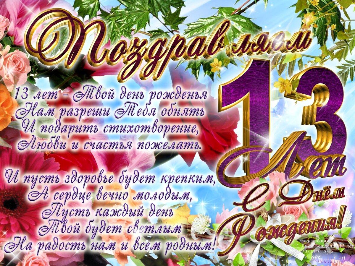 Поздравления с днем рождения в конкурсе 13 лет