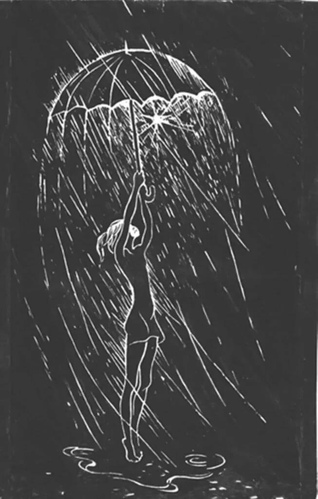 Девушка под дождем картинки карандашом, рождением дочки
