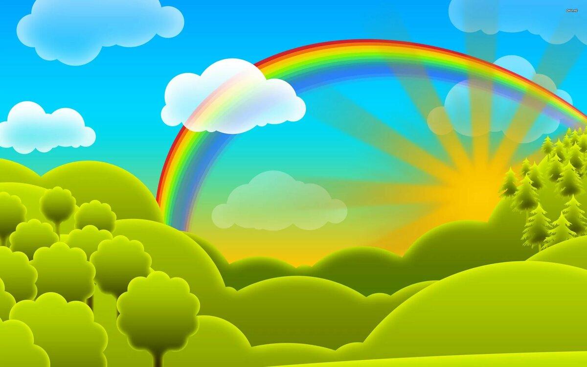 Картинка небо с облаками и солнцем для детей, днем