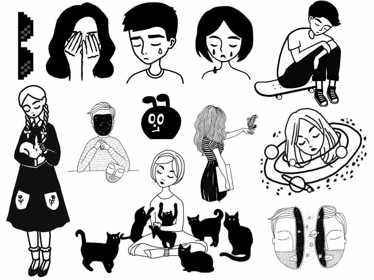 Рабочий стол, картинки в личный дневник для девочек распечатать в черно белом
