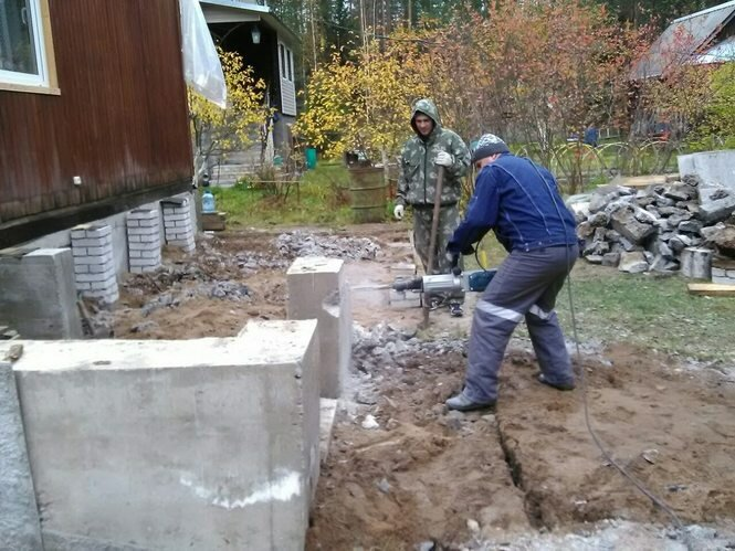 как разбить старый фундамент