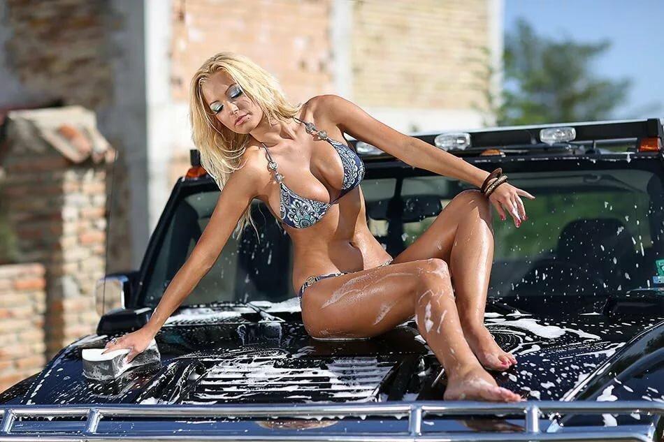 Girl sport car washing busty bikini girls men and