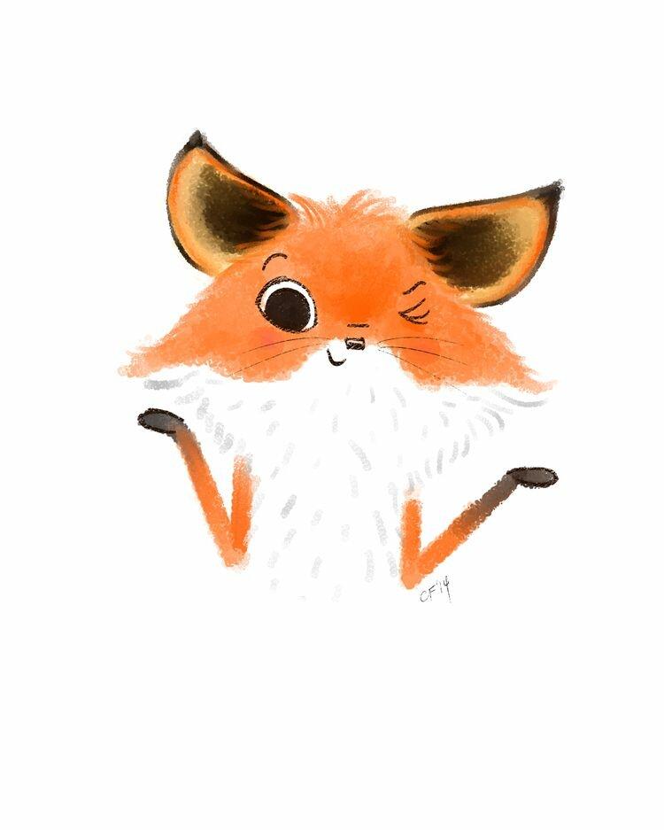 Прикольные рисованные картинки лисы, открытку февраля