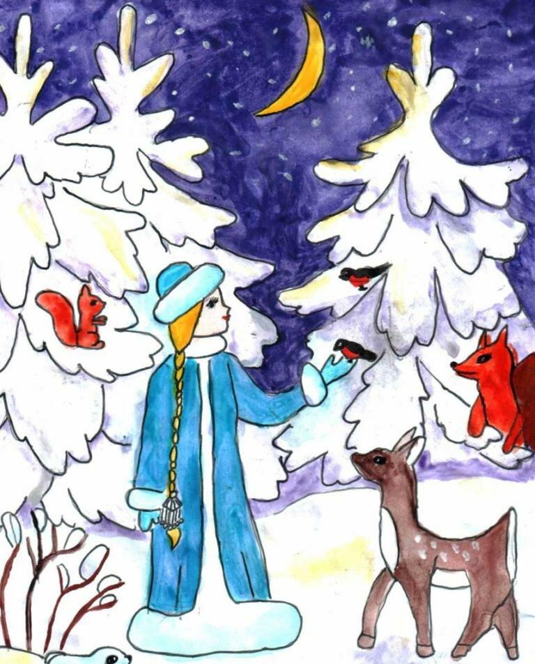 Девушка, рисунок на зимнюю тему в детский сад
