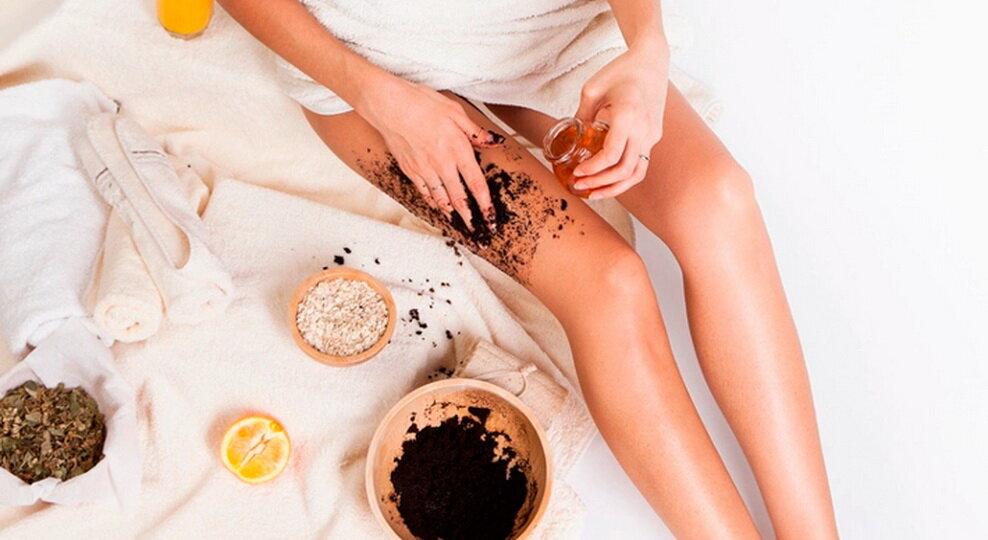обертывание ног для похудения с кофе