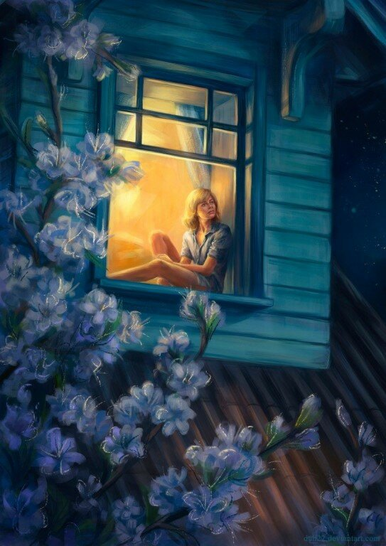 Ночь девушка окно картинки