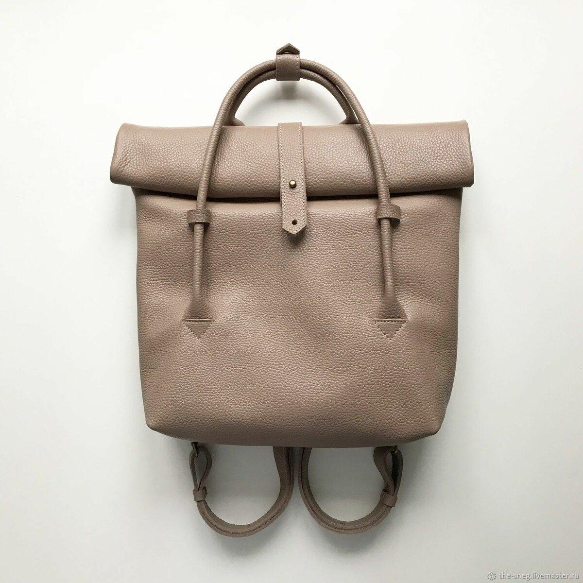 Кожаный рюкзак-сумка Rolltop Latte - купить или заказать в интернет-магазине  на Ярмарке 41f00bec65d