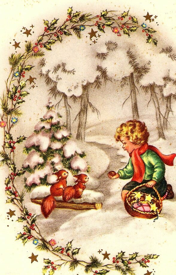дикаприо винтажная открытка к рождеству агентств частных лиц