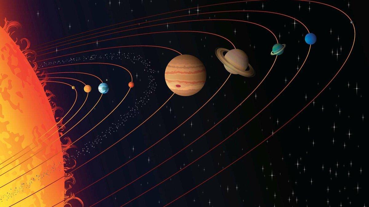 Открытка планеты солнечной системы, лисенок спокойной ночи
