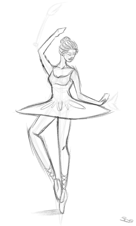 Картинки балерина для срисовки карандашом