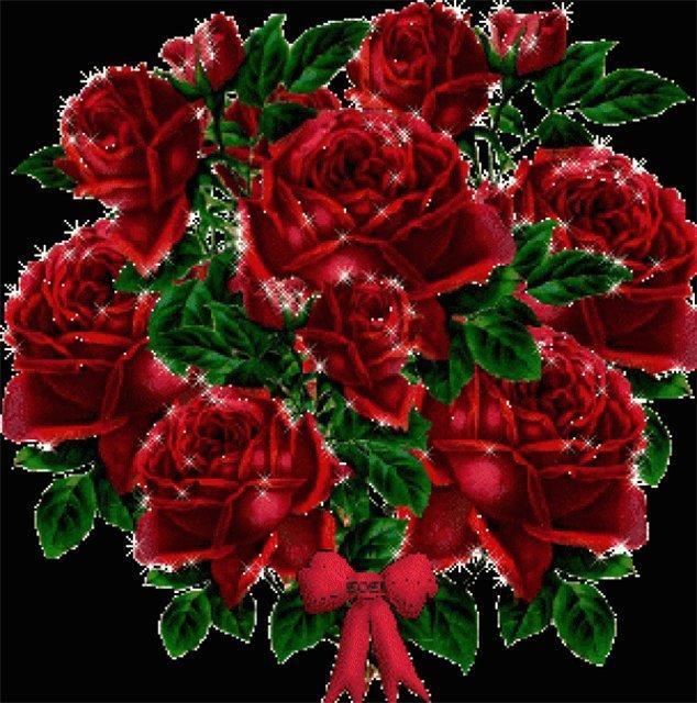 блестящие букеты цветов открытка свадебном