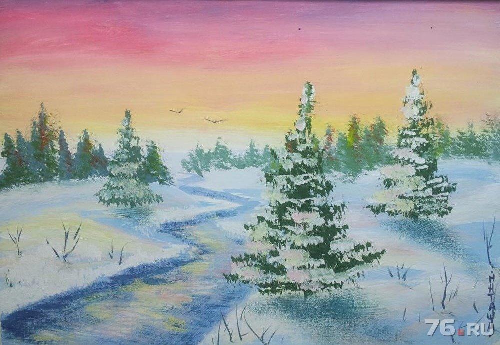 зимний пейзаж картинки рисунки поэтапно кто-то бывал абхазии