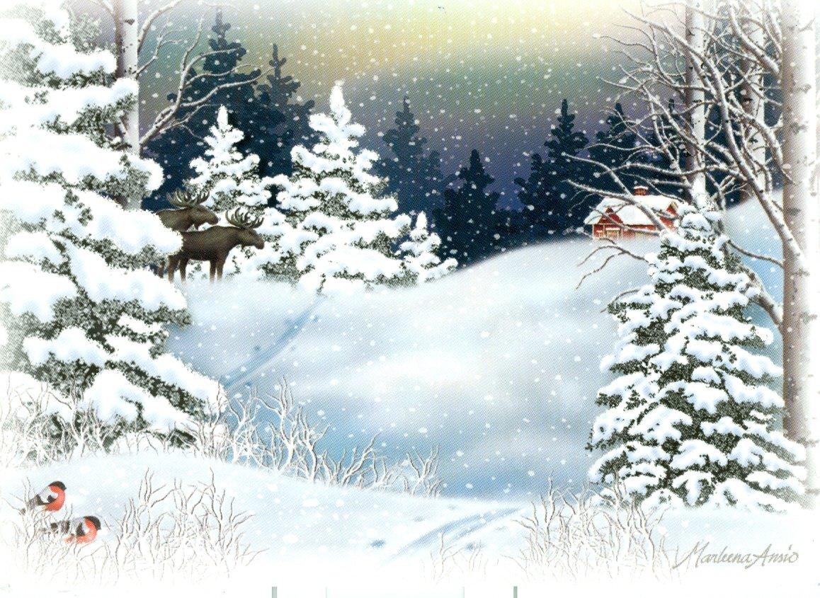 Открытки с зимними рисунками