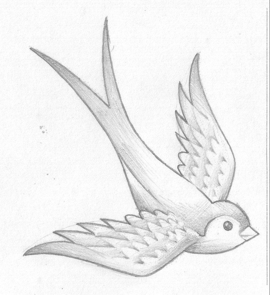 Рисунок птицы в полете