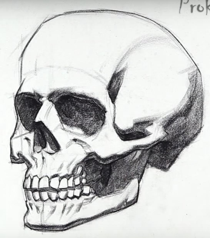 рисуем картинки карандашом поэтапно череп машины для минского