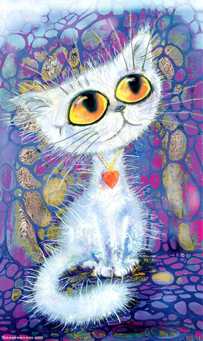 Улыбнись смешно, кошки рисованные картинки прикольные