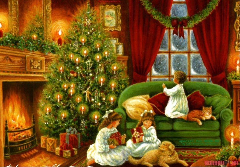 С новым годом открытка семья