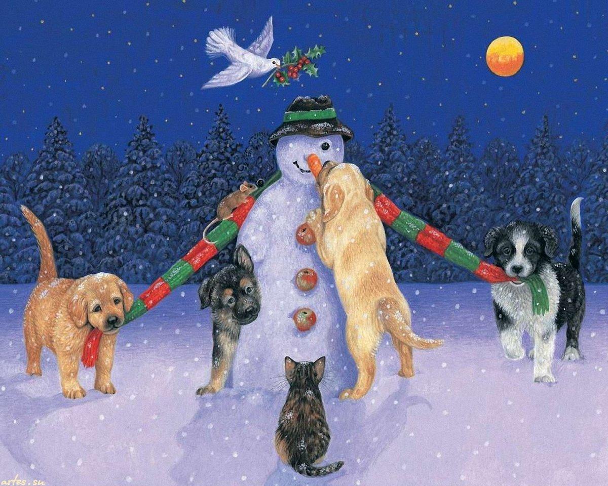 Открытка новогодняя с собакой