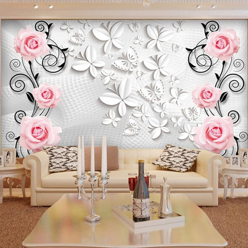 Great Wall Modern 3d Rose Butterfly Wall Paper Mural For Tv