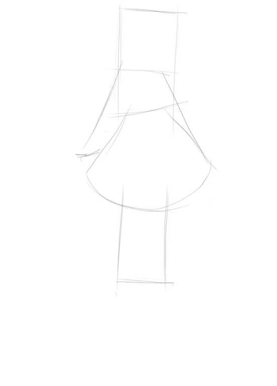 Картинки как нарисовать девушку в платье поэтапно