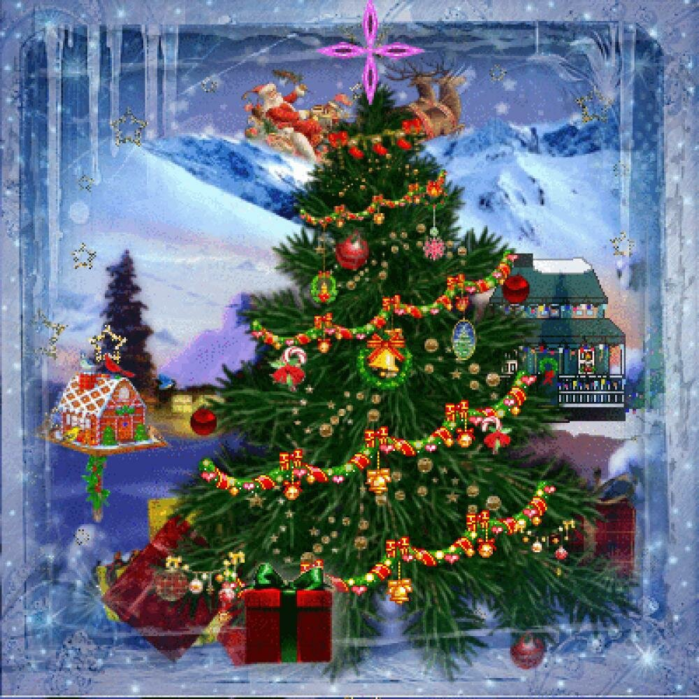 новогодняя елка открытка анимация