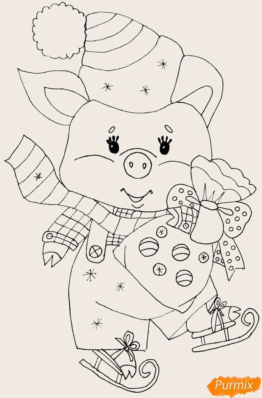 Картинки свинки новогодние срисовать