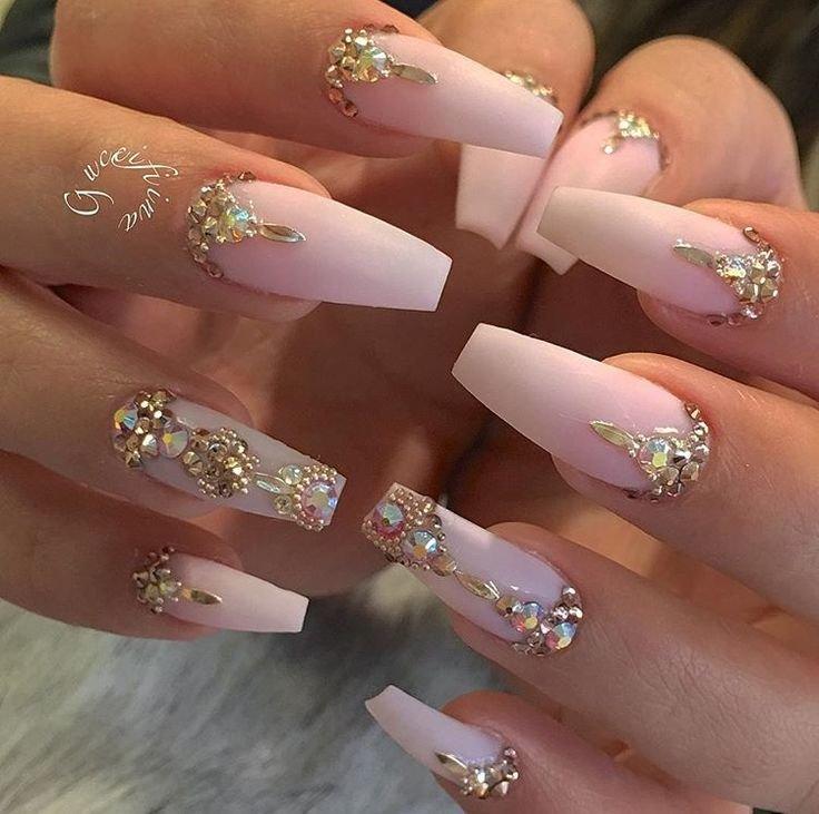 Jewel Encrusted Matte Blush Pink Coffin Shaped Nails Nail