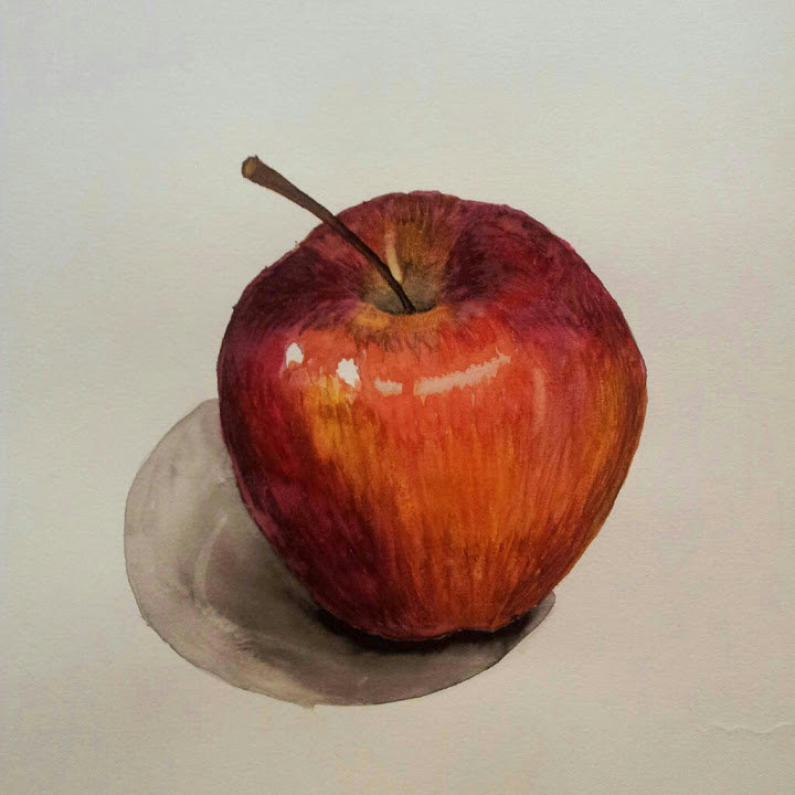 Рисунок яблока акварелью