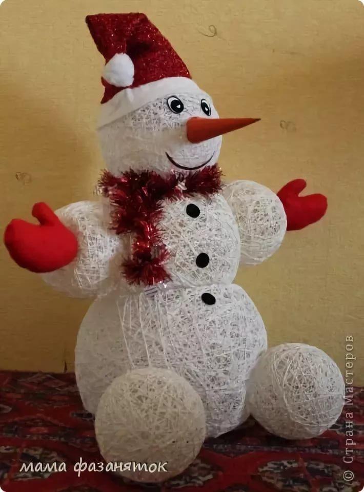 одна снеговик из ниток своими руками пошаговое фото было безумно