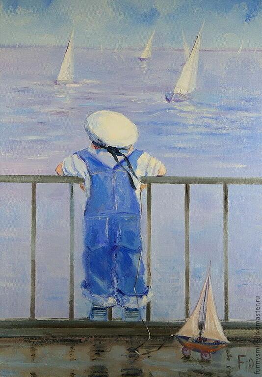 Рисунок мальчик у моря
