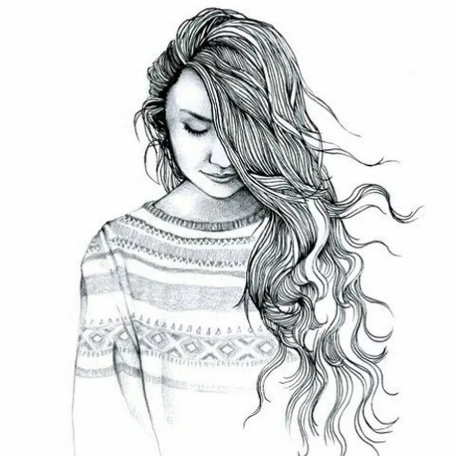 Черно-белая картинка девочки