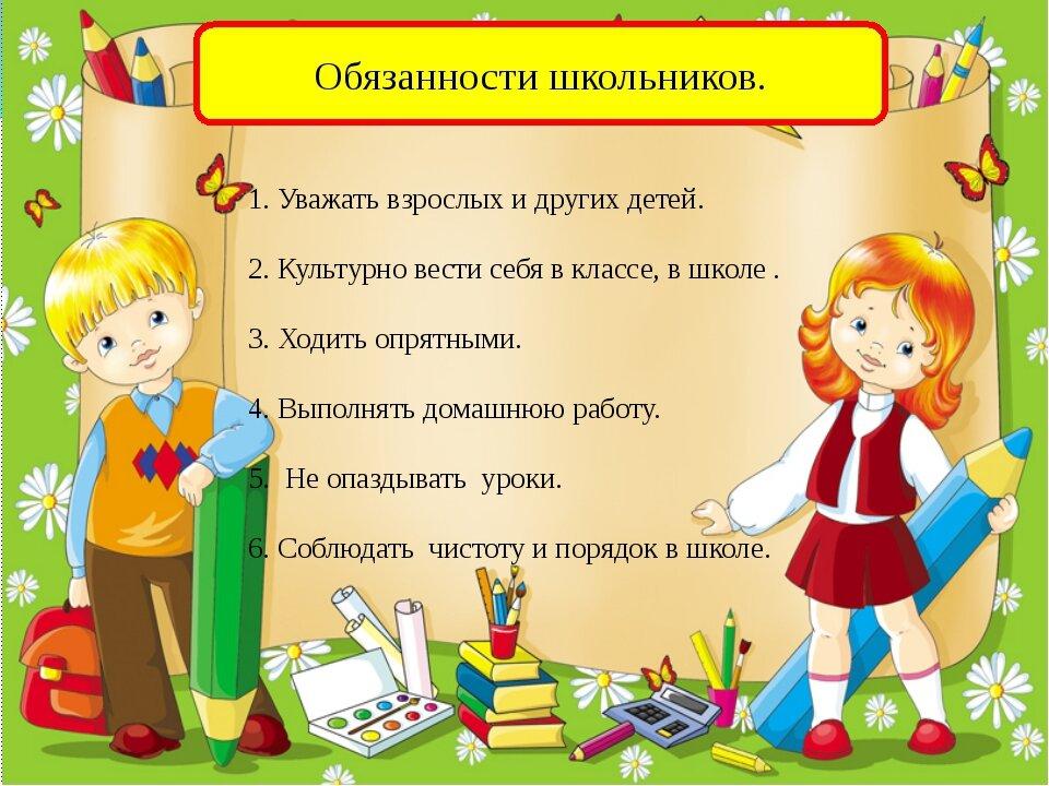 Права и обязанности младшего школьника в картинках