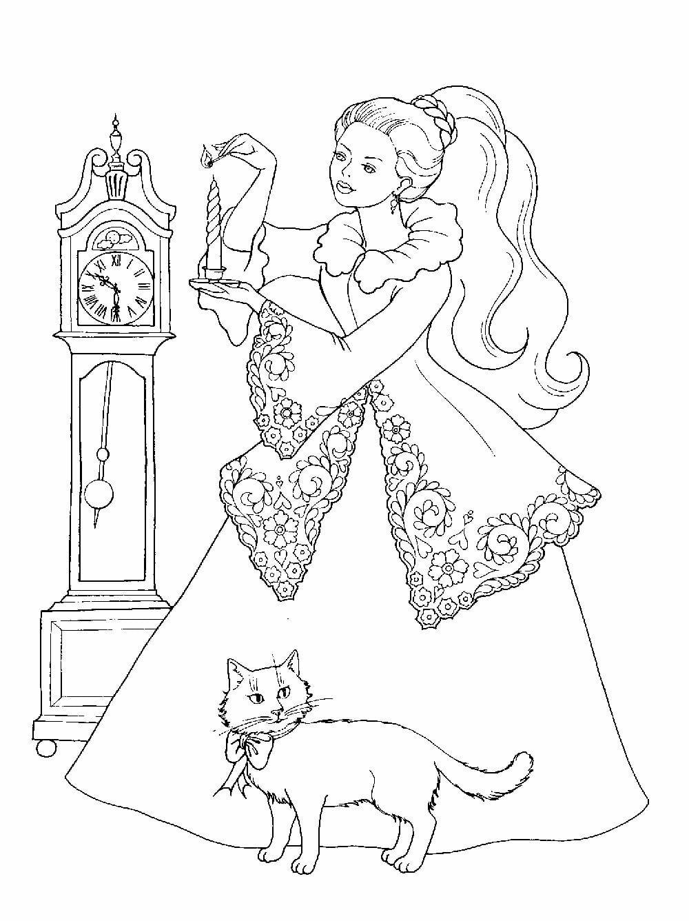 «Раскраска принцессы в шикарном платье с котиком ...