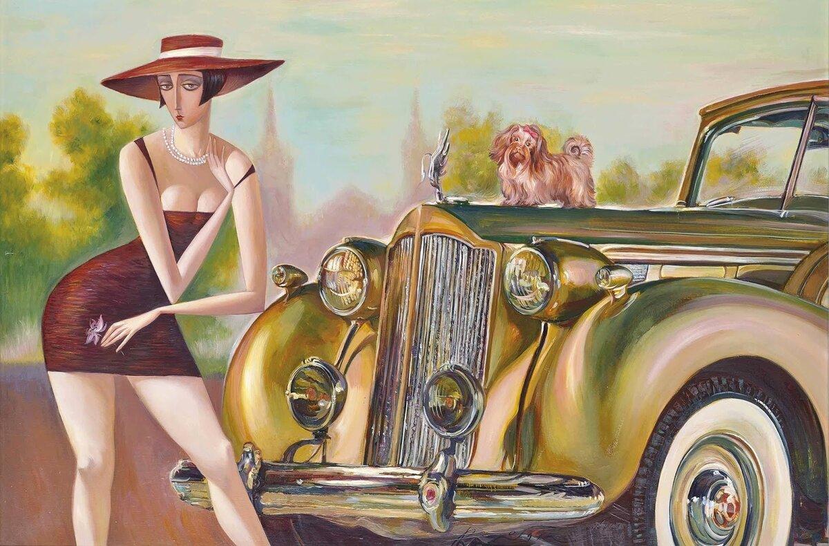 Женщина за рулем открытки, однотонные картинки телефон