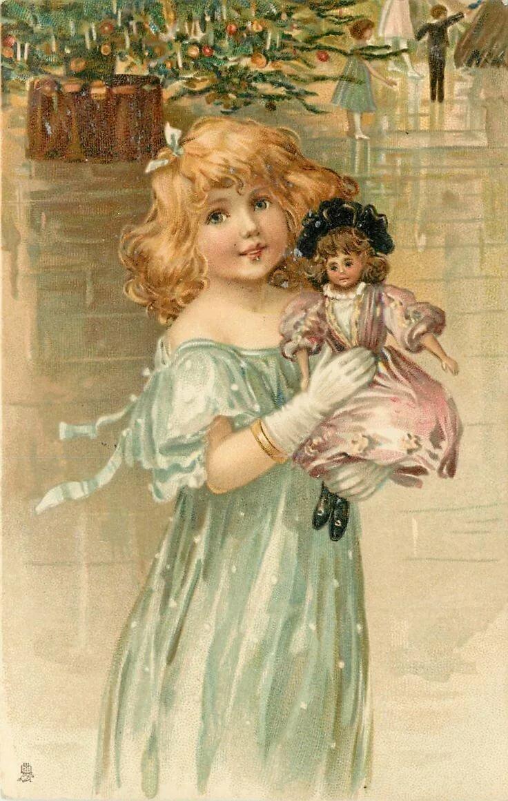Открытки со старинными куклами, флеш открытки рождество
