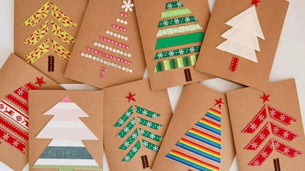 Новогодние открытки от детей своими руками, поздравления днем рождения