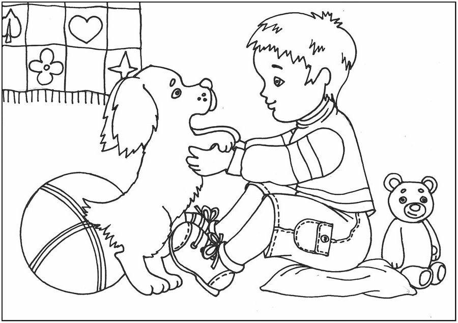 картинка человек и собака раскраска натяжной белый
