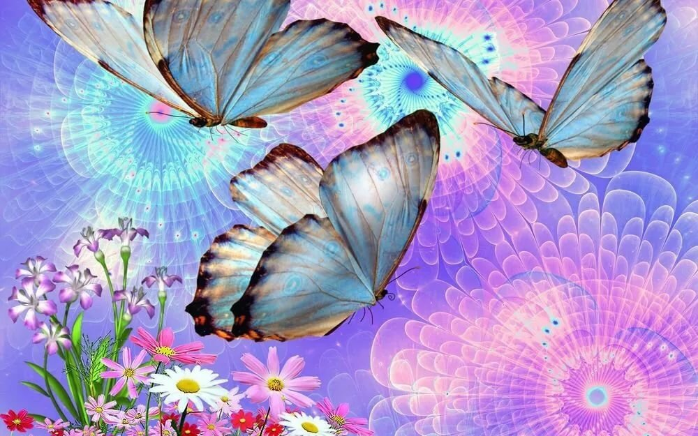 Бабочки летают открытка, рука надписью