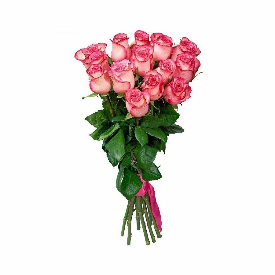 Букет из розовых розочек фото