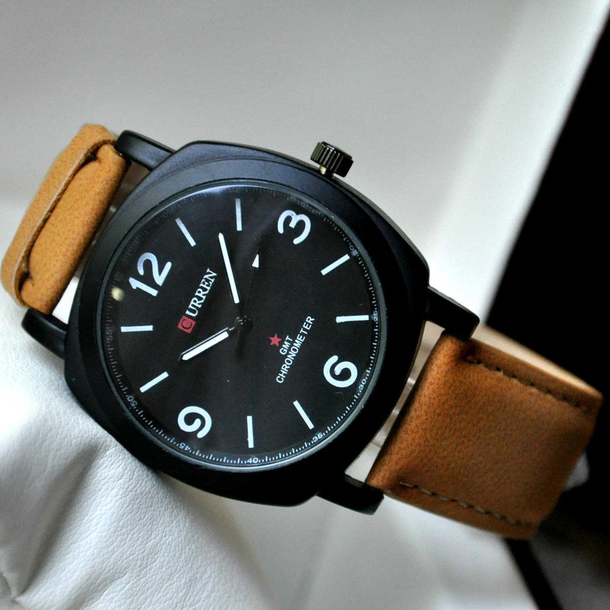Лучший бренд класса люкс многофункциональные спортивные часы для мужчин кварцевые часы мужской черный кожаный ремешок автоматические часы.