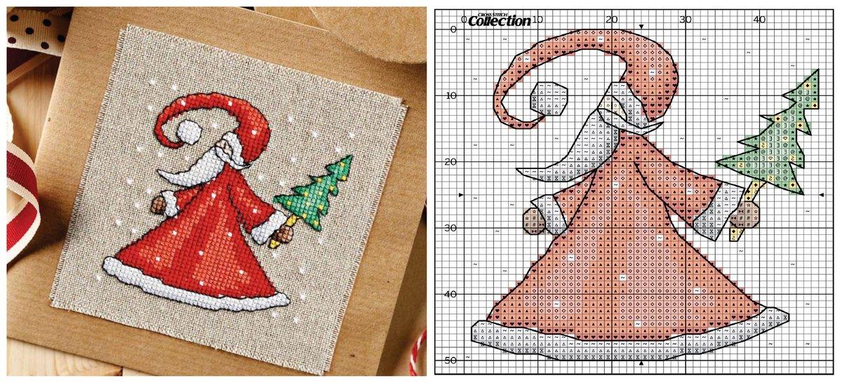 Новогодние вышивки крестом для открыток
