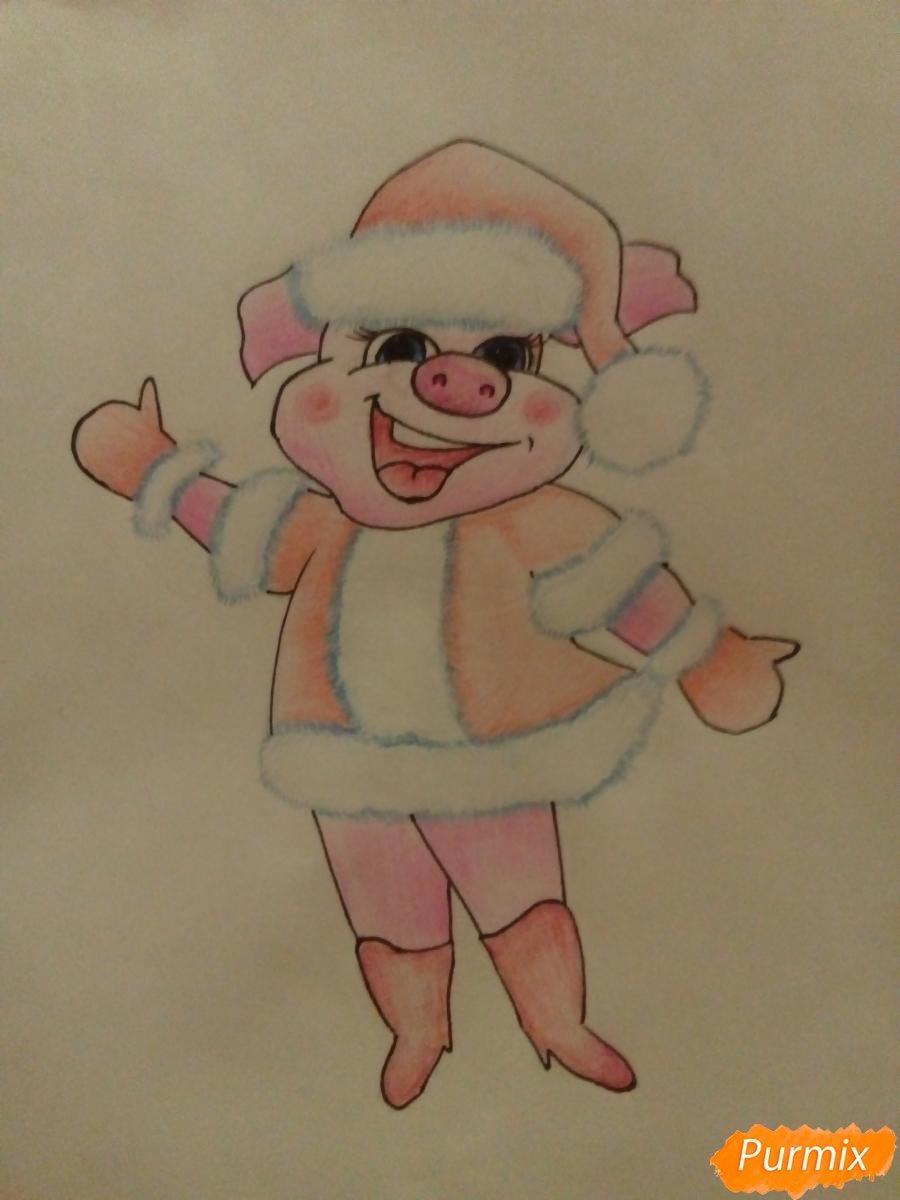 Про маленьких, новогодняя открытка срисовать год свинью