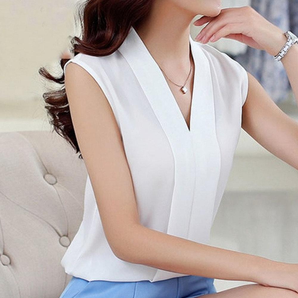 759f8f7aedd ... Купить товар 2018 Новая мода офис Для женщин OL шифон блузки женские  топы женские летние без
