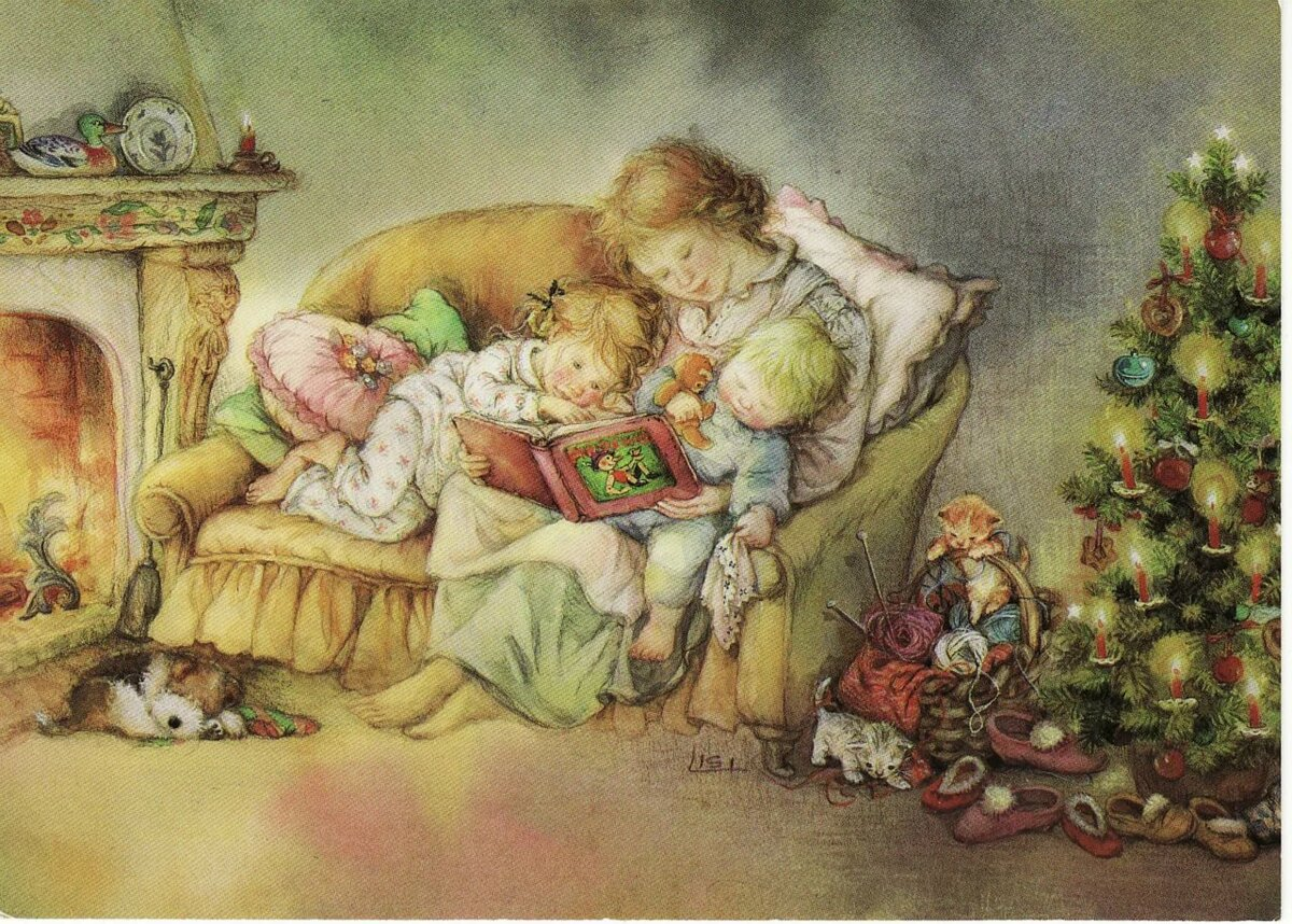 Рождественские семейные открытки, картинки позитивного