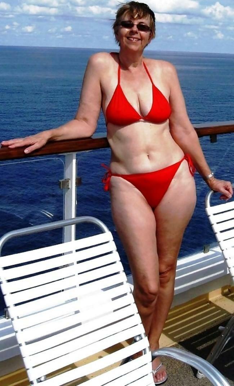 Mature woman bathing suit beach